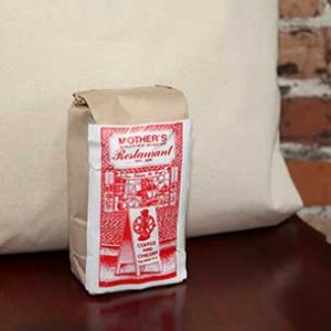 brown small coffee bag with Mothers restaurant red print